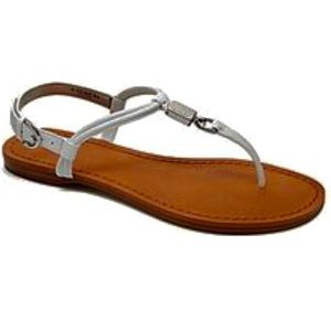 Coach Charleen White leather strappy flat sandals